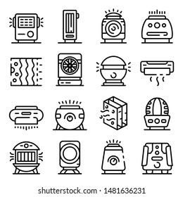 Air purifier icons set. Outline set of air purifier vector icons for web design isolated on white background