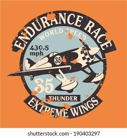 Air racing badge - vintage artwork in custom colors, grunge effect in separate layer