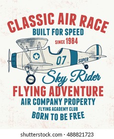 Air racing illustration, vintage artwork, vectors t shirt graphic