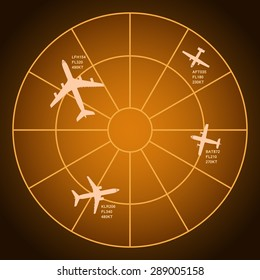 Air radar monitor with airplanes silhouettes