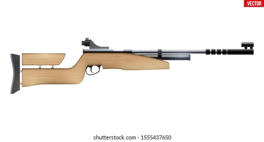 Air Rifle Equipment for Shooting Sport. Games of Shooting Range. Special Equipment for athlete. Vector Illustration isolated on white background.