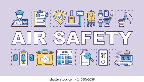 Air safety word concepts banner. Airline security. Airplane rules, accident prevention. Presentation, website. Isolated lettering typography idea with linear icons. Vector outline illustration