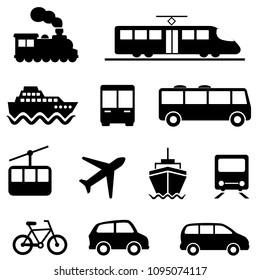 Air, sea, land and public transportation icon set