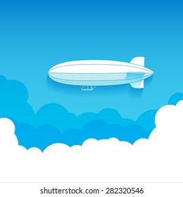 Air ship in the Sky, flat icon isolated on a blue background for your design, vector illustration