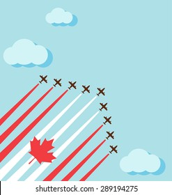 Air show on the sky for celebrate the national day of Canada