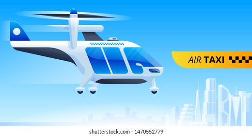 Air taxi service flat banner vector template. Futuristic transportation, city travel. Flying cab express delivery advertising poster layout. Electric aircraft, helicopter illustration with typography