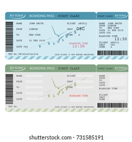 Air ticket with barcode, Airline boarding pass, traveler check template with aircraft. Vector