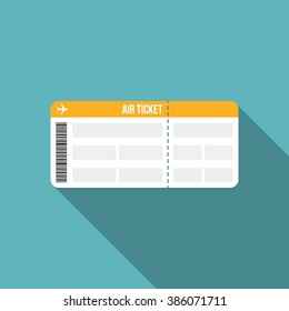 air ticket or boarding pass icon with long shadow, flat design