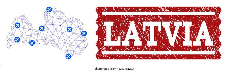 Air ticket collage of polygonal mesh map of Latvia and rubber stamp seal. Vector red seal with distress rubber texture for airtickets. Abstract blue mesh lines, airports and points with map of Latvia.