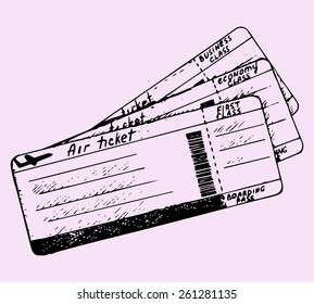 air ticket, doodle style, sketch illustration
