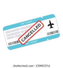Air ticket, flight cancelled. Temporarily paused flights due to epidemics coronavirus. Vector illustration.