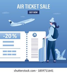 Air ticket sale, landing page template. Female tourist with luggage, airplane takeoff. Part of boarding pass with big discount. Low fares, cheapest flyes concept. Flat design vector illustration