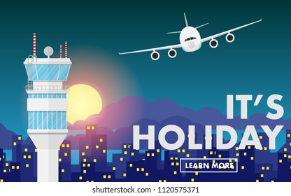 """Air traffic control (ATC) in night time with moon, night landscape city, some cloud and airplane(plane,areoplane) flying above the sky and free copy space for text""""It's holiday""""on the mountain range"""