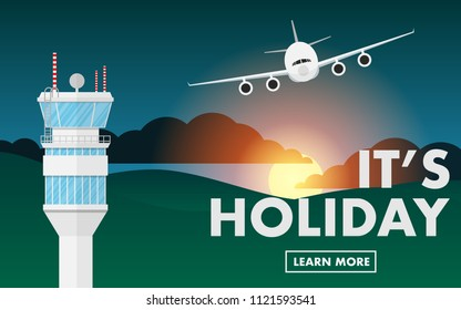"""Air traffic control (ATC) in sunset/sunrise time with mountain hill range, some cloud and airplane(plane) flying above the sky and free copy space for text""""It's holiday""""on the mountain range"""