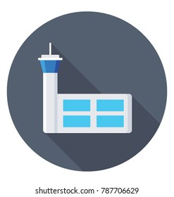 Air Traffic Control Tower Flat Colored  Icon