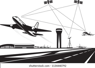 Air traffic management - vector illustration