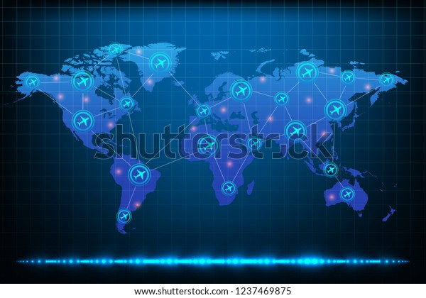Air Traffic On World Map Stock Vector (Royalty Free) 1237469875 on world airspace map, world drought map, world terrain map, world wind map, world weather map, world radar map, world land use map, world transport map, world pollution map, world drug map, world seismic map, world rail map, world gravity map, world railway map, world crime map, world flight map, world climate map, world heat map, world snowfall map, world road map,