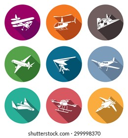 Air transport and the device Icons Set. Vector Illustration. Isolated Flat Icons collection on a color background for design