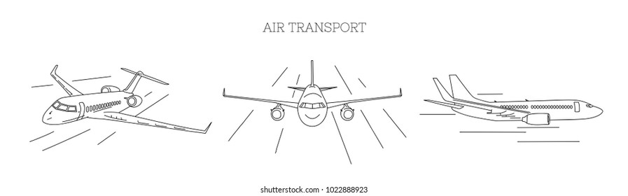 Air transport illustration of three planes from different view angle, outline, isolated