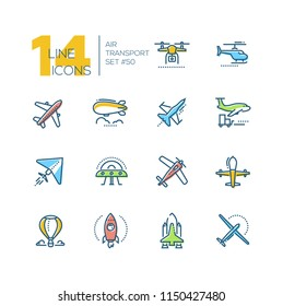 Air transport - line design icons set. Colorful pictograms. Plane, helicopter, airship, balloon, jet fighter, cargo, quadcopter, flying saucer, hang glider, drone, rocket, space shuttle, airplane