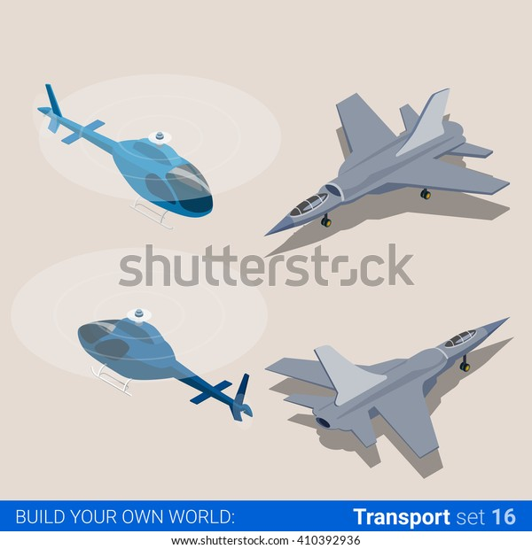 Air Transport Set Helicopter Air Force Stock Vector (Royalty