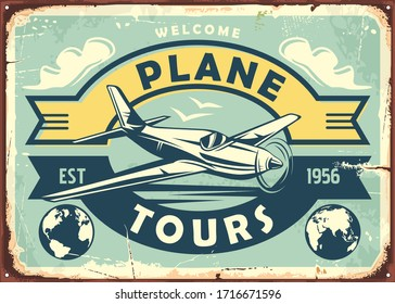 Air transport vintage metal sign with airplane , clouds and earth globe. Plane tours travel destinations promotional poster advertisement. Transportation and vacation retro vector image.