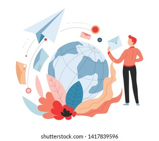Air transportation international delivery service post or mail vector earth globe and paper plane postage or online shopping orders distribution or shipping envelopes with letters and man receiver