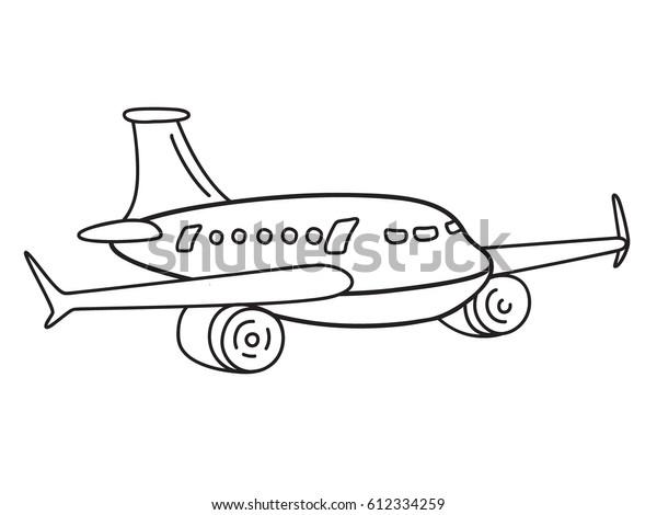 Air Transportation Sketch Vector Passenger Airplane Stock