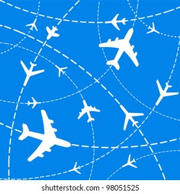 Air travel. Airplanes on their destination routes. Vector Illustration