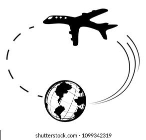 Air travel around world destinations route symbol stencil black, vector illustration, horizontal, over white, isolated