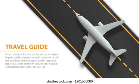 Air travel banner with plane on runway strip - vacation and travel design. Banner with airplane and runway strip. Vector illustration