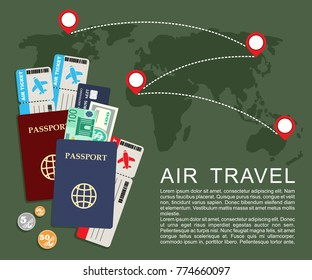 Air travel concept . World map, airline tickets and passports. Vector illustration
