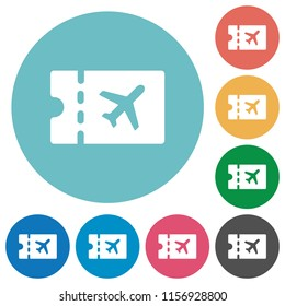 Air travel discount coupon flat white icons on round color backgrounds