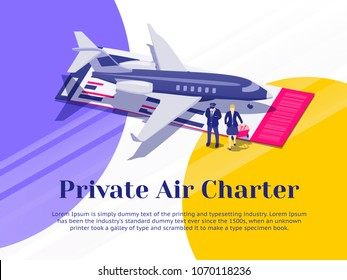 Air travel flat 3d isometric design concept. Private Jet Charter Flights. Pilot and stewardess stand near the plane. Banner for advertisement and website. Passenger Aircraft. Vector illustration