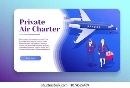 Air travel flat 3d isometric design concept. Private Jet Charter Flights. Pilot and stewardess stand near the plane. esign template from landing page and advertising. Passenger Aircraft. Vector image