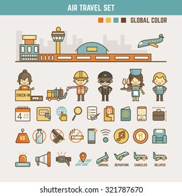 air travel infographic elements for kids including characters and icons