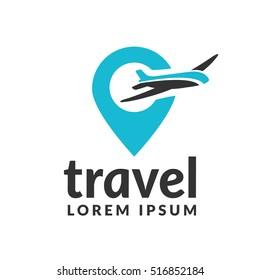 Air travel logo template. Travel logo. Pin logo. Location on map logo concept. Plane icon. Plane logo. Plane vector. Airplane logo. Airplane icon. Airplane vector.