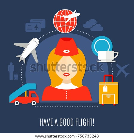 Air Travel Welcome Aboard Flat Advertisement Stock Vector Royalty