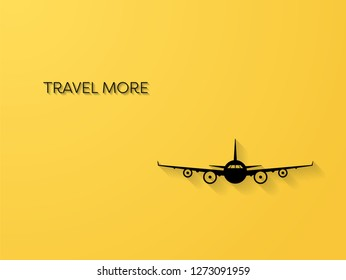 Air traveling vector concept with silhouette of a plane with 3d shadows. Symbol of traveling, exploration, discovery, holiday and vacation. Eps10 vector illustration.