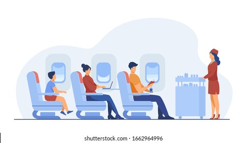 Air trip with comfort flat vector illustration. Passengers waiting for airline meal. People travelling by plane and sitting near airplane window. Airline, tourism and journey concept.