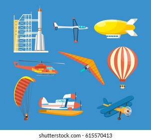 Air vehicles: missile with base, hang-glider, helicopter, airship, balloon, paraglider, biplane, land glider, amphibian aircraft. Modern vector illustration isolated on blue background.