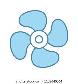 Air ventilation color icon. Exhaust fan. Ventilator. Turbine, propeller. Isolated vector illustration