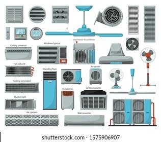 Air ventilator cartoon vector set icon.Vector illustration icon of ventilator equipment.Isolated cartoon set of air fan system.
