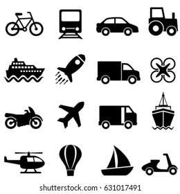 Air, water and land mode of transportation icon set