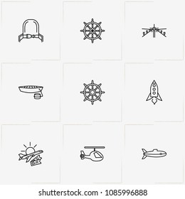 Air And Water Transport line icon set with hand wheel, travel and space ship