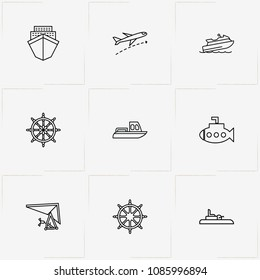 Air And Water Transport line icon set with airplane, water scooter and submarine