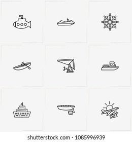 Air And Water Transport line icon set with ship, water scooter and travel
