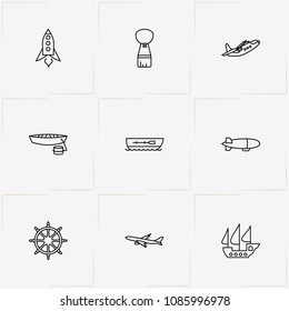 Air And Water Transport line icon set with hand wheel, space ship and boat