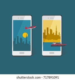 Air and water travel concept.  Business and tourism travel illustration. Vector smartphone with plane and motorboat.