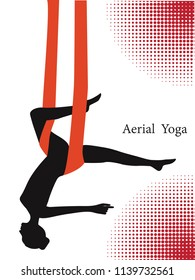 Air yoga - female silhouette on a red hammock - isolated on white background - art vector. Fitness concept